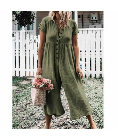 Womens Summer Solid Short Sleeve Rompers Button Down Wide Leg Jumpsuits Ladies Evening Party Playsuit 2019 New - Army Green ...
