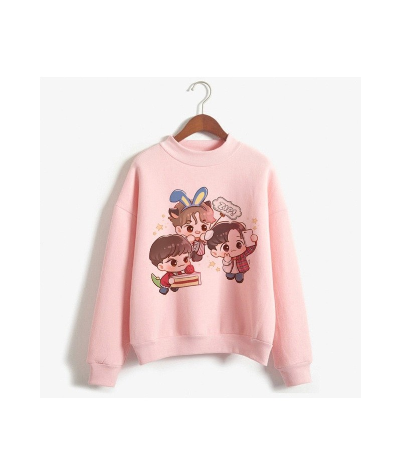 Kpop Exo Sweatshirt Women Autumn Winter Harajuku Casual Hoodies Letters Printed Pink Fleece Pullover K-pop Clothes For Femal...