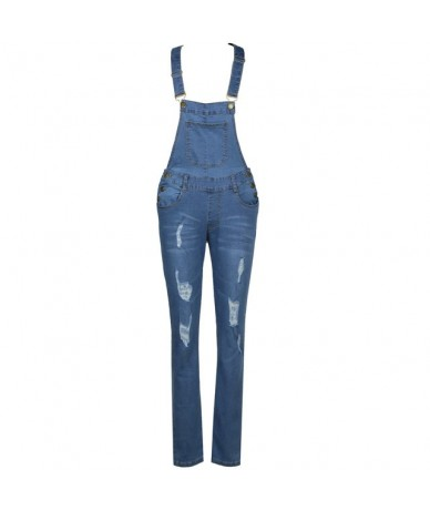 2019 New Women Denim Overalls Ripped Stretch Dungarees High Waist Long Jeans Pencil Pants Rompers Jumpsuit Blue Jeans Playsu...