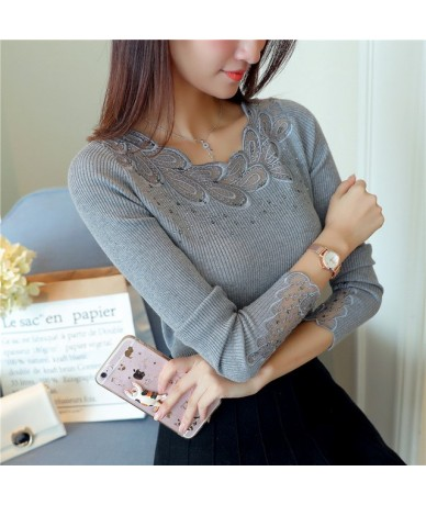 Women Pullovers 2017 Cashmere Sexy Lace Pullover Sweaters Fashion Patchwork Hollow Out Ruffled Collar Knitted Tops Pull Femm...