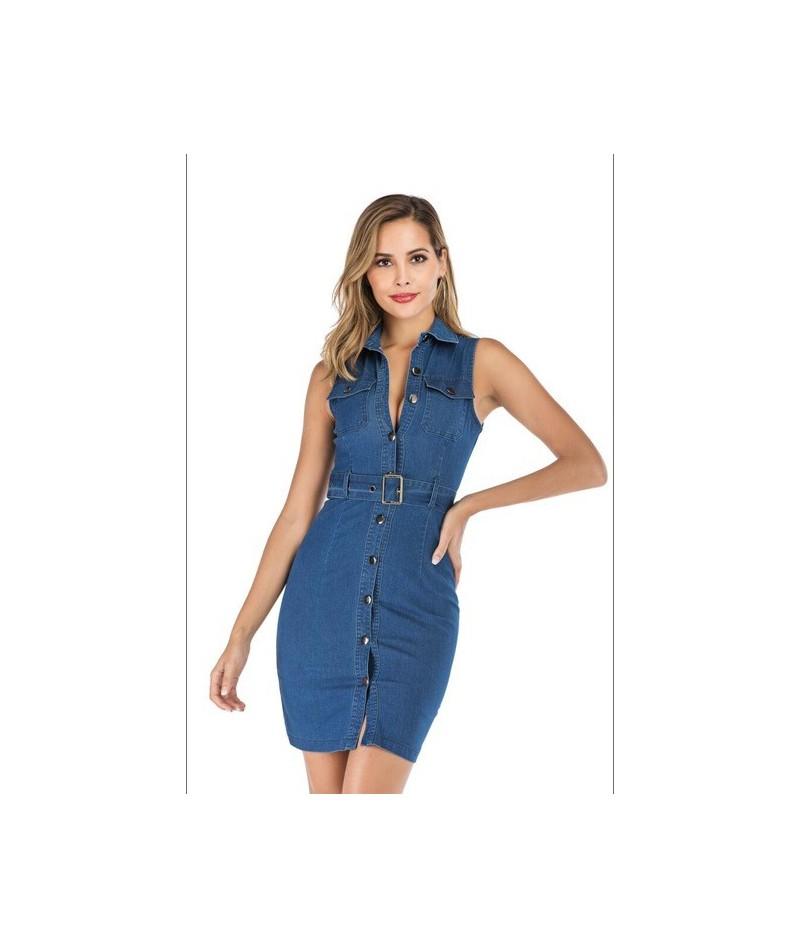 Sexy Summer sleeveless Denim Dress Women Brand High elasticity Slim wrap club Dresses Cowboy vintage Midi Bodycon dress Vest...
