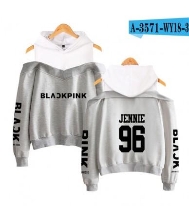 Blackpink Color Black and white Off-shoulder Korean Sweatshirt Menber Idol KPOP Printed Women's Fashion Hoodies Sweatshirt -...