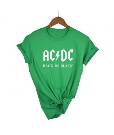 AC/DC Band Rock harajuku T-Shirt Women's ACDC BLACK Letter Printed Graphic Tshirts Hip Hop Rap Music Short Sleeve Tops Tee S...