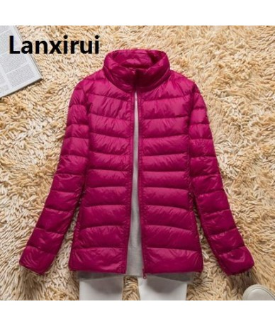 2018 Winter Autumn Jacket Women Stand Collar Long -Sleeve Short Paragraph Thin And Light Jacket Female Coat Plus Size Women ...