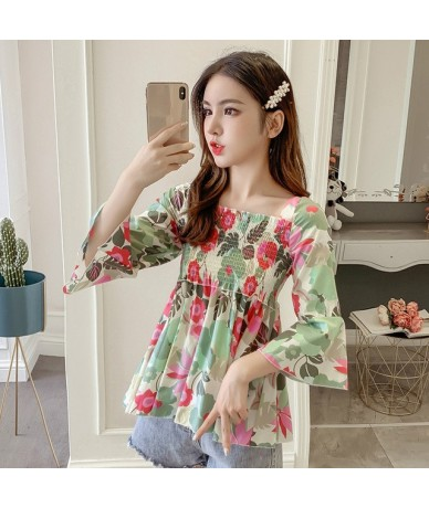 Floral Chiffon Blouse Summer 2019 Plus Size Loose Flare Sleeve Shirt Sexy Backless Lace Up Doll Shirts Women Tops 52764 - pi...