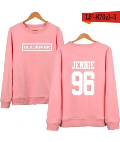 KPOP Korean Fashion Sweatshirt Women Pullover Blackpink Letter Printed Hoodies JENNIE ROSE LISA Pink Fleece Hoodie - 2 - 4U3...