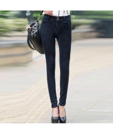 2018 Long Spring Skinny Pencil Woman Jeans High Waist Elastic Denim Pants Solid Stretch Basic Jeans Casual WKP312 - Dark - 4...