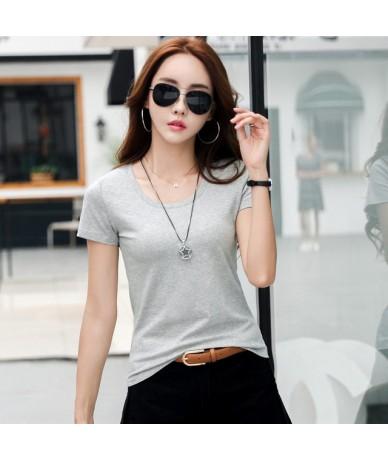 2019 Summer Women T Shirt Cotton Solid White Tshirt Camiseta Femenina Short Sleeve Casual Tops Female Slim Basic Tee Shirt T...