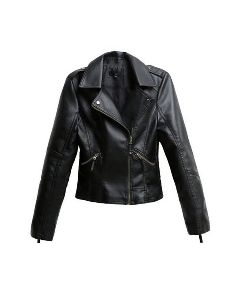 Black PU Leather Jacket Women Cool Slim Short Motorcycle Jackets Female Autumn Coat Basic Street Outerwear Plus Size 4X - Bl...