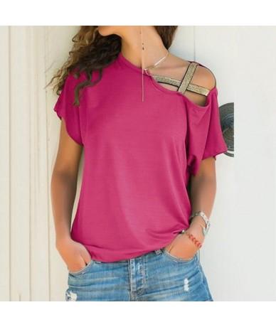 5XL Women Skew Neck Irregular Criss Cross Blouse Patchwork Solid Top Blusa Femme One Shoulder Summer Shirt Hollow Plus Size ...