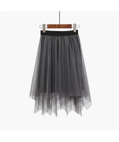 Women Skirts 2019 Fashion Tulle Skirt Elastic High Waist Mesh Skirts Womens Midi Pleated Tutu Skirt Saias Faldas Jupe Femme ...