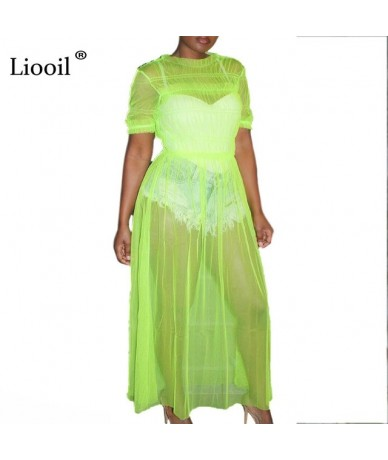 See Through Mesh Sexy Maxi Dress Women Clothes 2019 Neon Green Dress O Neck Plus Size Party Club Wear Long Dresses - Green -...