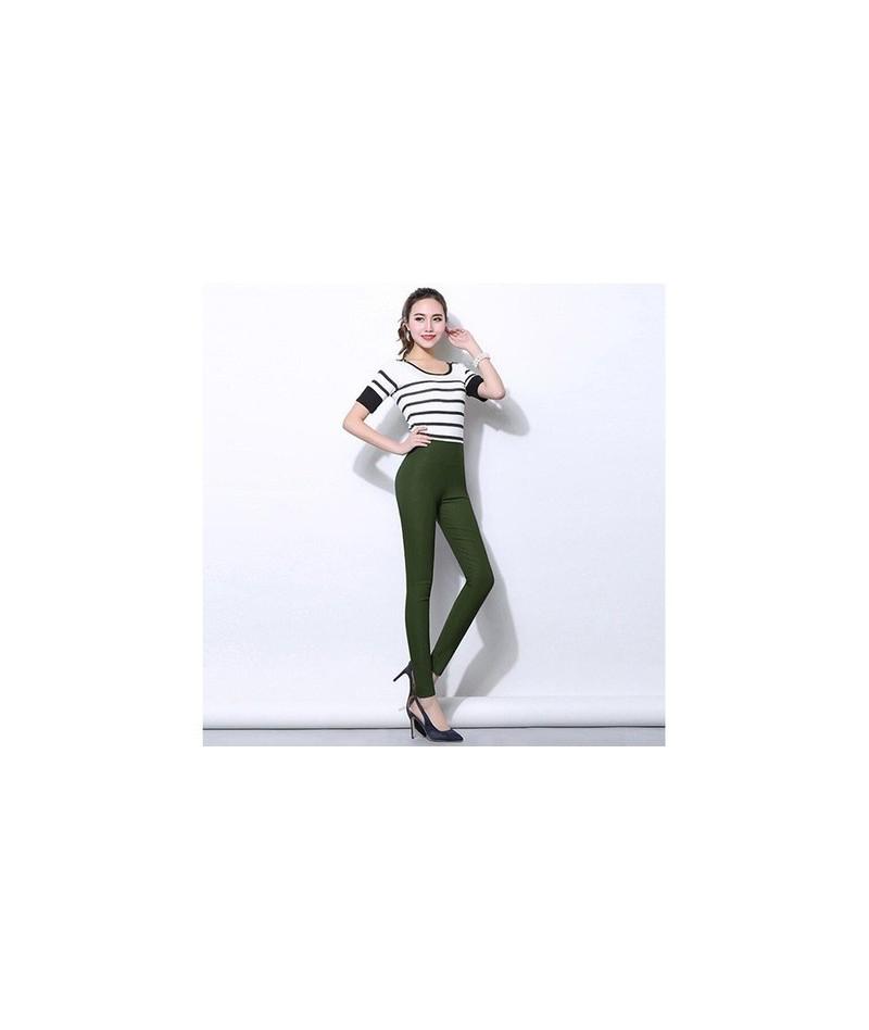 Plus size 5XL Candy Color Leggings For Women 2017 Summer High Waist Stretch office Girls Skinny Leggings Female pants - dark...