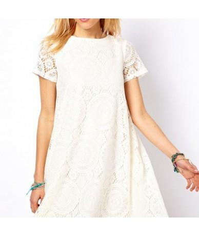 Summer embroidery female casual dress women style casual femininos 2018 clothing de festa lace Crochet Loose dress - White -...