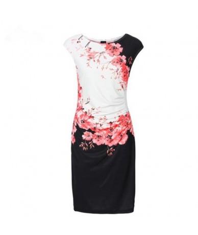 2019 New Fashion Summer Dress Sexy Sleeveless O-Neck Print Slim Dress Plus Size Elegant Package Hip Office Ladies Dress Vest...