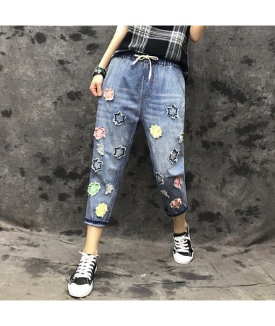 Vintage Blue Ripped Jeans For Women Letter Embroidery Flowers Denim Pants Casual Female Loose Clothing Summer Spring Fall - ...