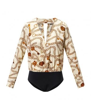 Vintage Silk Rompers Womens Jumpsuit Long Sleeve Chain Print Top Shirt Ladies Deep V Neck Key Printed Sexy Satin Bodysuits W...