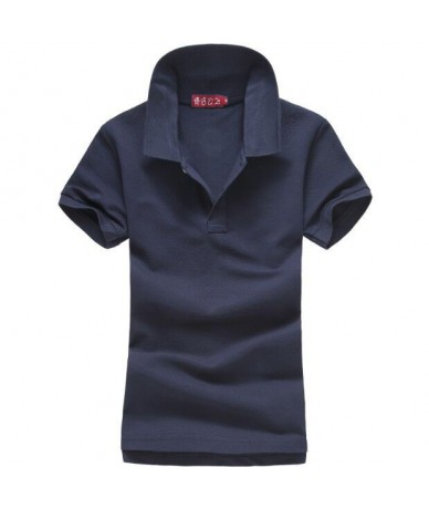 100% cotton womens summer brand short sleeve lapel polos shirts slim casual womens clothing tops solid color polos - Navy bl...