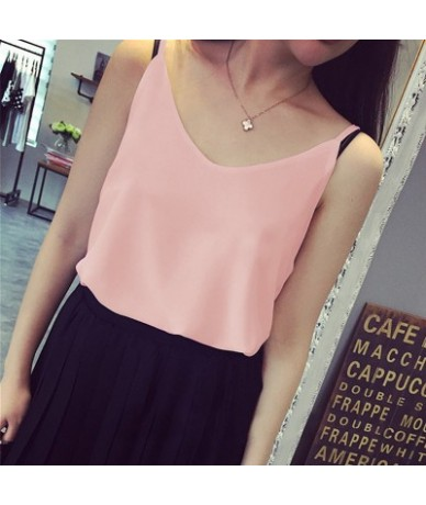 Women Tank Top V Neck Sexy Plus Size Chiffon Blouse Gray Blue Pink Red Black White Ladies Tops Summer - Pink - 423976718295-4