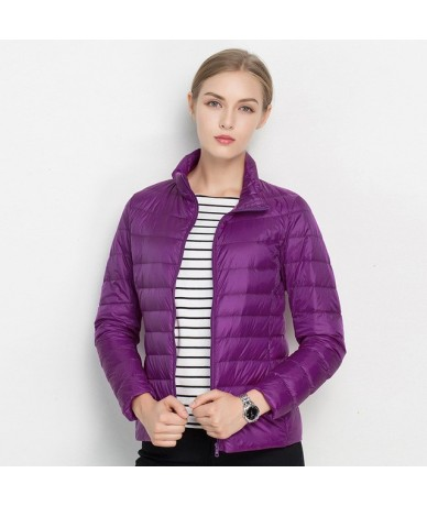 New Arrival 20 Colors Size S-3XL Spring Autumn Women Fashion Ultra Light Jacket Soft Warm Stand Collar Thin Jacket XXXL - Da...