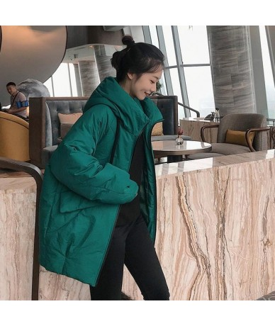 New Winter Women Stand Collar Hooded Cotton Coat Casual Wadded Bread Loose Long Jackets Parkas Female Outwear Padded - Green...