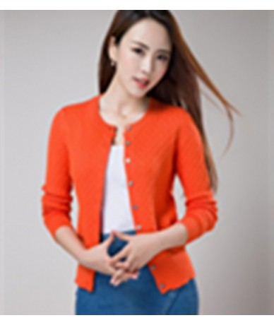 2017 Winter Women's Knitted Cashmere Wool Curling Crewneck cardigan Solid color Clothes cardigan - Orange red - 4M3935321885-6