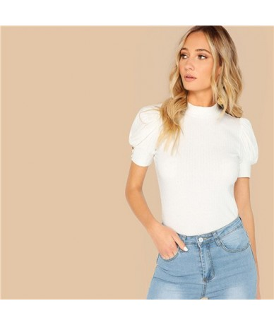 White Mock-neck Buttoned Puff Sleeve Ribbed Top Slim Fitted T Shirt Women Solid Spring Office Lady Workwear Tshirt Tops - Wh...