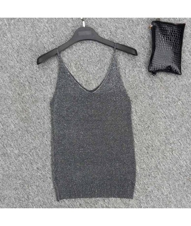 Sexy Knitted Women Tank Women Gold Thread Tops Vest Sequined V Neck Long Summer Solid Tanks Blusa Silver Camis Fitness Sweat...