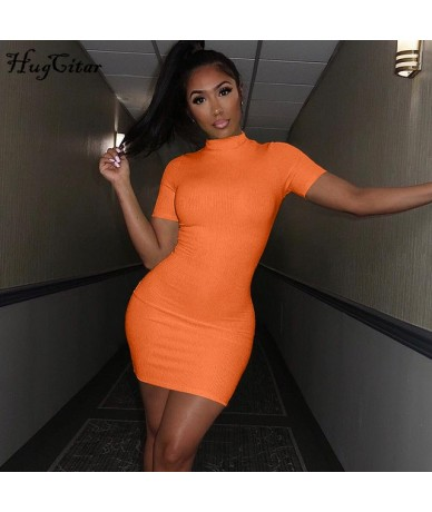neon green orange solid high neck short sleeve high waist dresses 2019 summer women stretchy casual streetwear party cl - Or...