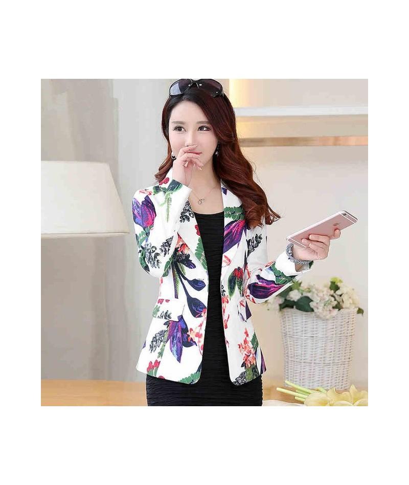 2019 Autumn Print Women Blazers And Jackets Elegant OL Small Suit Jacket Female Short Outwear Blazer Feminino Women Tops C36...