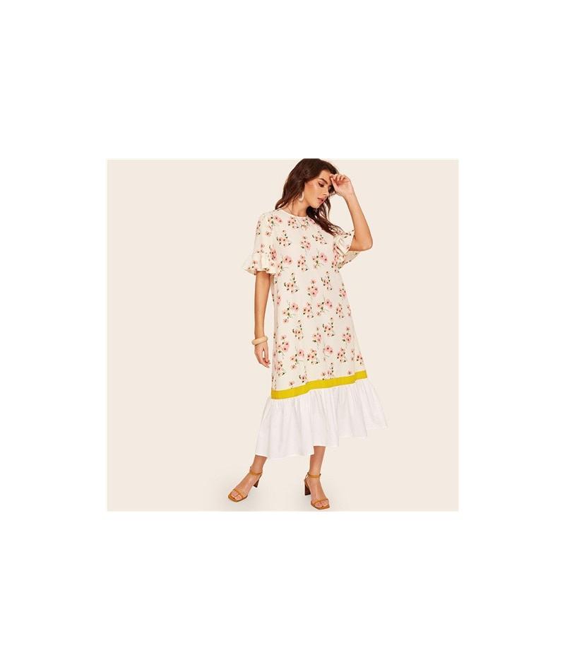 Ruffle Cuff And Hem Botanical Floral Print Dress Women White Half Flounce Sleeve Dress Boho Button Summer Dresses - White - ...