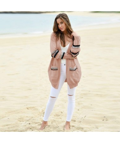 Big Size Autumn Winter Women Long Sleeve Patchwork Tassel Sweater Cardigan Jackets Coats Fashion Casual Loose Knit Outwears ...