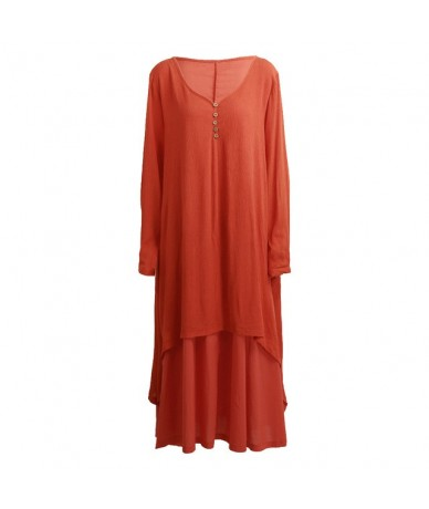 2019 Women Casual Spring Dress Loose Full Sleeve V Neck Button Plus Size Dress Cotton Linen Boho Long Maxi Dress Vestidos - ...