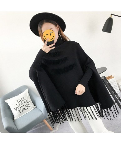 Tassel Tops Female Sweater Pullover Turtleneck Batwing Long Sleeve Loose Knitting Sweaters Autumn Casual Clothing New - Blac...