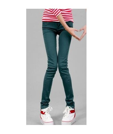 2018 new Spring and Autumn style Candy color denim pants women stretch Slim pencil jeans trousers T858 - dark green - 463875...