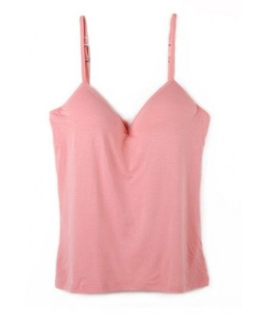 2019 Women Built In Bra Tank Tops Sexy Bra Cozy Healthy Modal Solid Camisole Wholesales WI185 - Pink - 29987026476-4