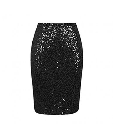 Summer Women Clothes 2019 New Solid Summer Women Sexy Sequin Mini Skinny Skirts High Waist Women's Sequin Skirt - Long Black...