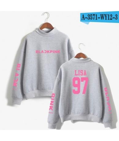 2018 BLACKPINK Girl's Group Kpop Oversize Turtlenecks Hoodies Sweatshirts Women Hoodies Loose Casual Sweatshirts - Grey - 4M...