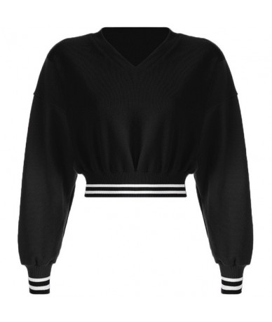 Autumn Women Hoodie Sweatshirts Sexy V Neck Long Sleeve Cropped Tops Casual Lady Short Pullover Sweatshirts 2 colors WDC2916...