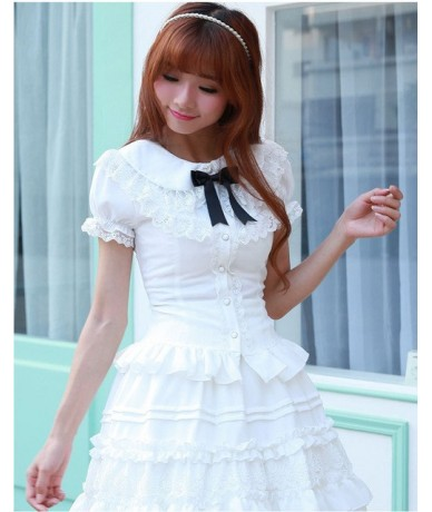White/Black/Pink Puff sleeve Blouses for Women Lolita Peter pan collar Cos Cute Lace blouse Old-fashioned Female Girls Shirt...
