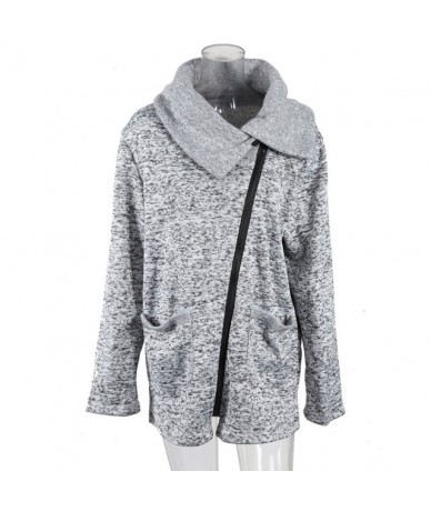Plus Size 5XL Women Autumn Winter Clothes Warm Fleece Jacket Slant Zipper Collared Coat Lady Clothing Female Jacket - Gray -...