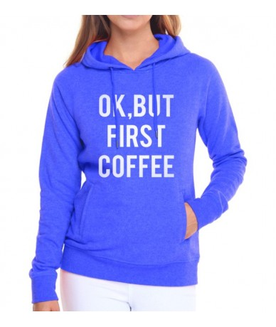 femme 2019 hip-hop fitness hoodies funny letters printed sweatshirts fall winter Ok But First Coffee women pullovers tracksu...