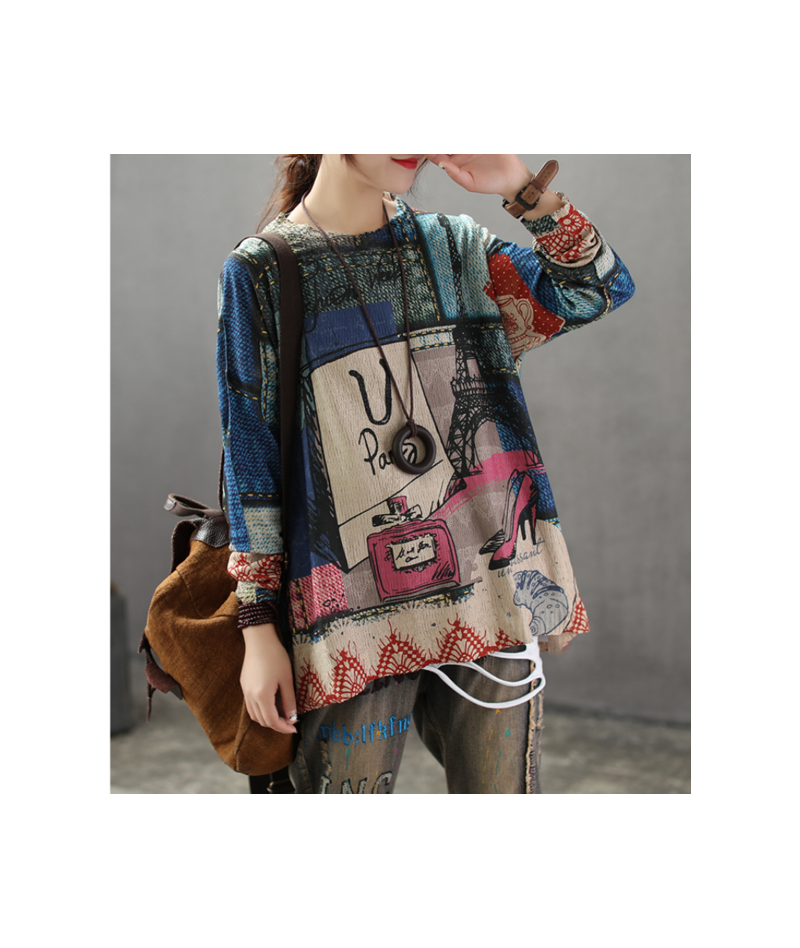 Summer Autumn Sweater Women Retro Loose Print Pattern Pullovers Tops New Ladies O-Neck Casual Streetwear Blended Sweater - B...