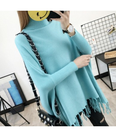 2019 Women Pullovers And Sweaters Loose Tassel Soft Shawl Poncho Women turtleneck sweater Bat Long Sleeve Pullover Sweater -...