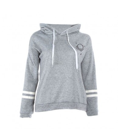 Hot Selling Women Autumn Pullover Hoodie Planet Printed Loose Fit Warm Plush Sweatshirt -B5 - Gray - 4I4159495243-2