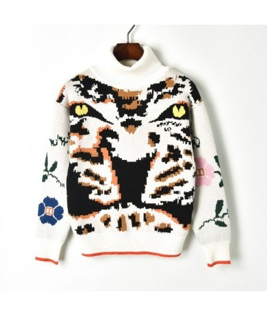 Women Fashion High Neck Leopard Tiger Head Printed Winter Sweater Knitwear Female Turtleneck Knitted Pullover Maglione Donna...