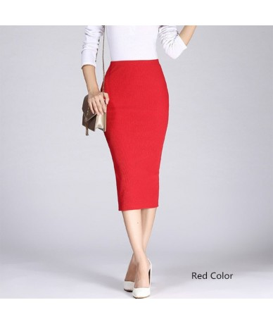 Stretch Slim Knitted Skirts Womens High Elastic Package Hip Mid-Calf Solid Pencil Skirt Lady Rib Cotton Maxi Skirts - Red - ...