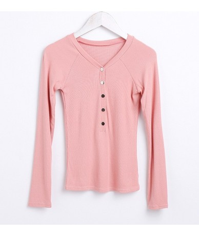 Women Long Sleeve Button Front Tops Button placket V Neck Long Sleeve T-shirts - pink - 463937728511-4