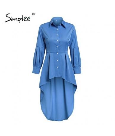 Sexy buttons long blouse shirt women Turndown collar blue plus size cotton tops Spring office ladies fashion blouse 2019 - B...