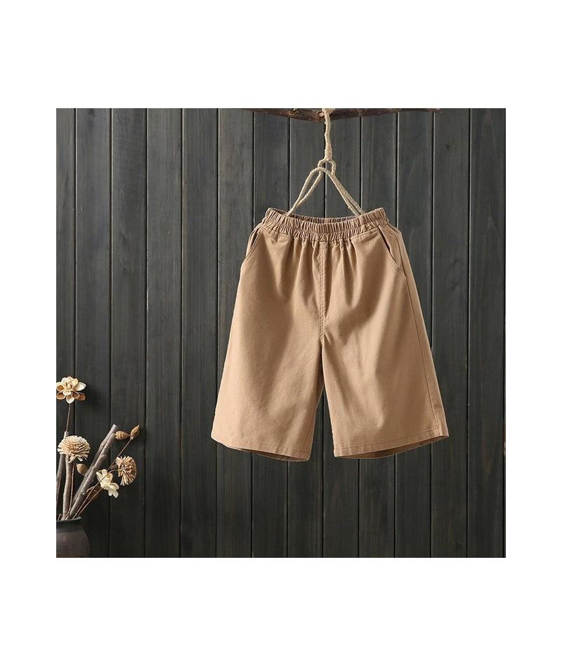 Shorts Female Summer Linen Shorts New Cotton Linen Shorts Women Casual Large Size Loose Elastic Waist Solid Shorts - Khaki -...